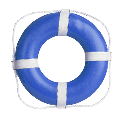 Blue and white life preserver